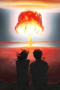 Двое влюбленных на картинке с атомным взрывом. Ядерный грибок на аватарке вконтакте.